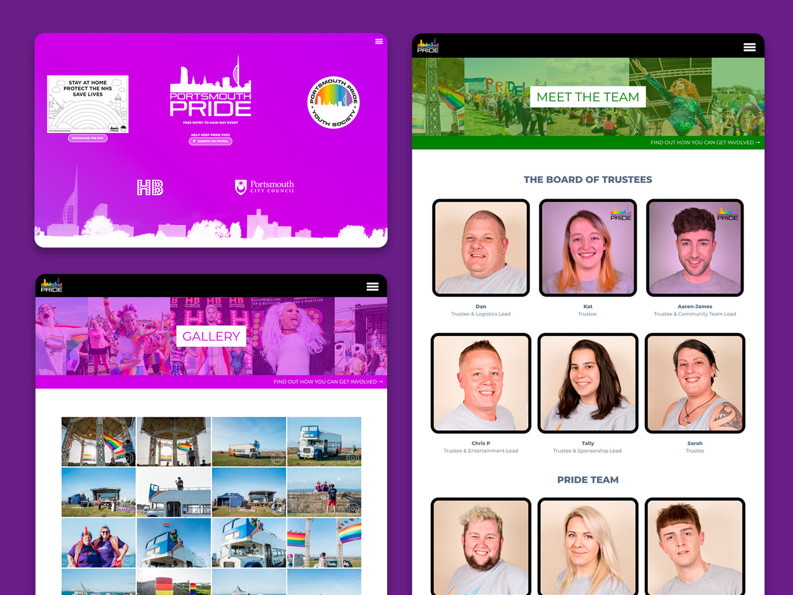 Portsmouth Pride WordPress marketing website designed by freelance website designer Christine Wilde. Web Design in Portsmouth.