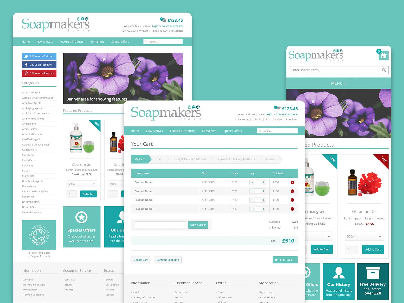 Soapmakers Store eCommerce website design created by freelance website designer Christine Wilde