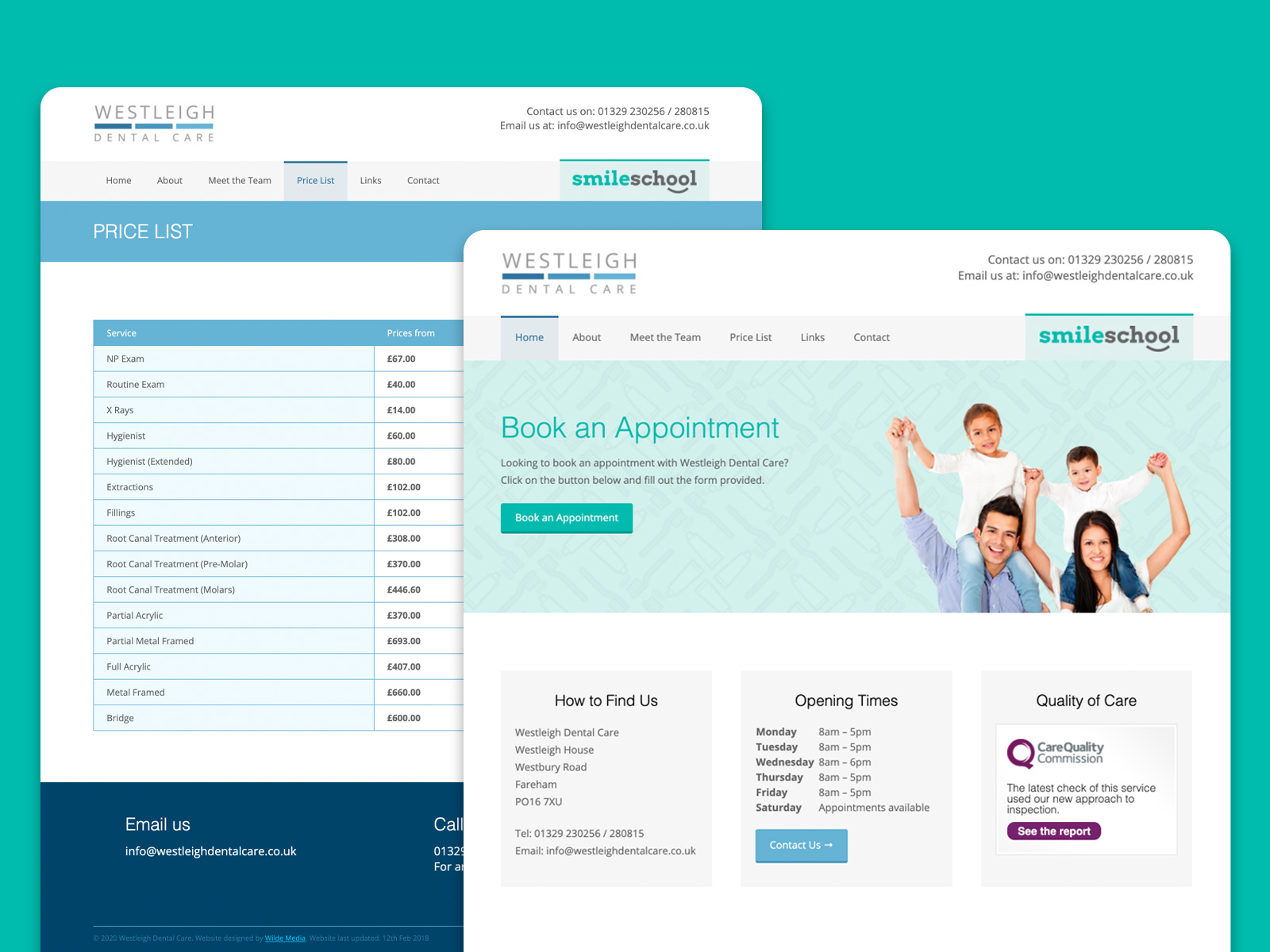 Westleigh Dental Care marketing website designed by freelance website designer Christine Wilde